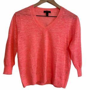 JCREW Neon Pink Linen V-Neck Marled Sweater